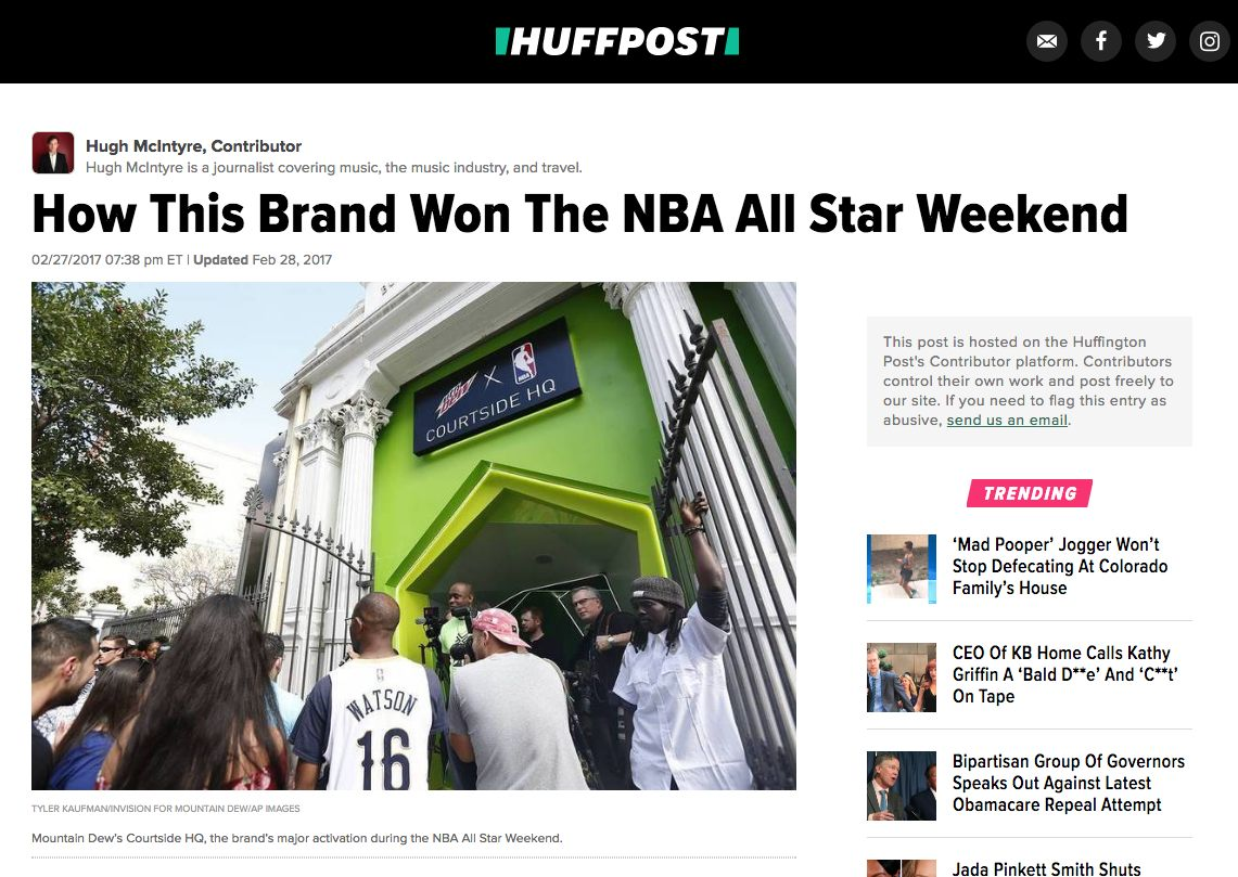 NBA All Star Weekend - Mountain Dew article in Huffington Post