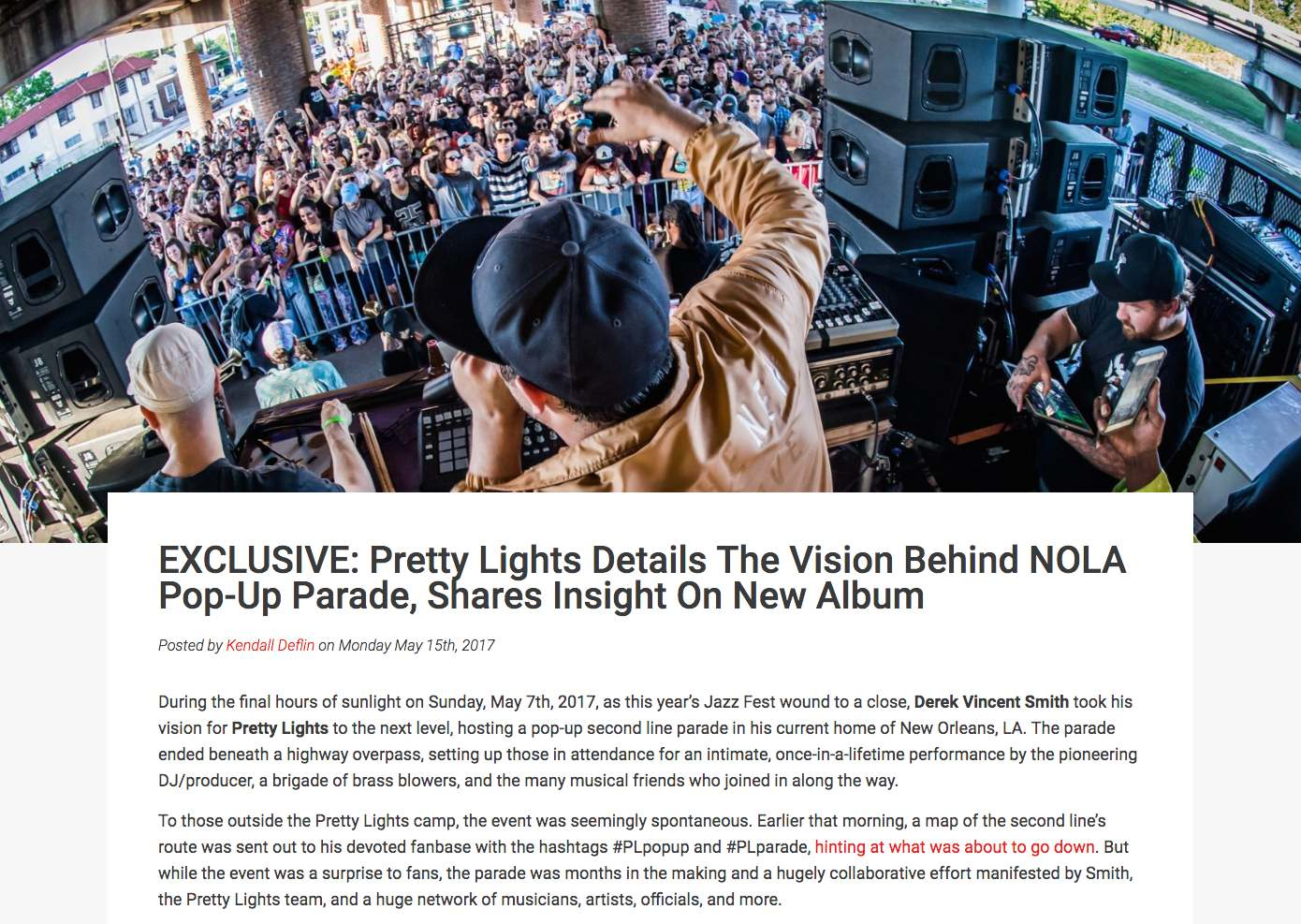 Pretty Light Pop Up Show article 2017